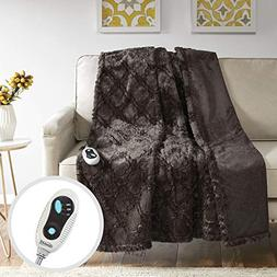 Beautyrest - Heated Brushed Long Fur Throw - Ogee Pattern -