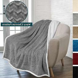 PAVILIA Deluxe Sherpa Fleece Chevron Throw Blanket for Couch