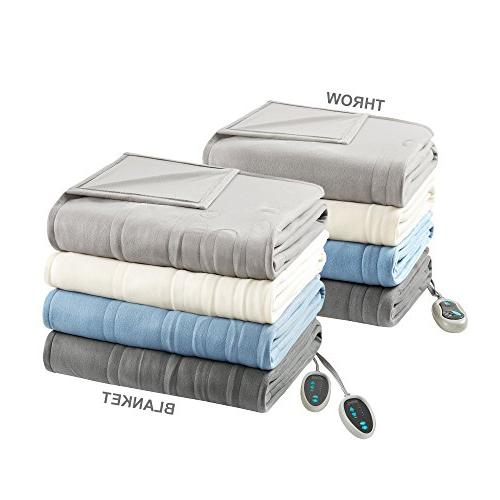 """Beautyrest Blanket Throw Set - Ivory - King Size x 90"""" Throw 50"""" with 3"""