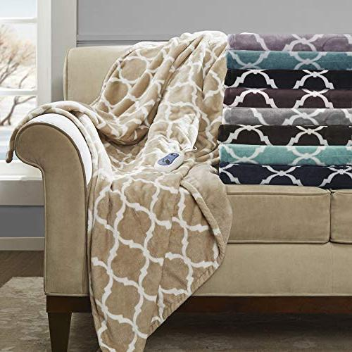"""Throw Comfort Technology x 70""""- Gray Ogee in - Cozy Heated Electric -"""