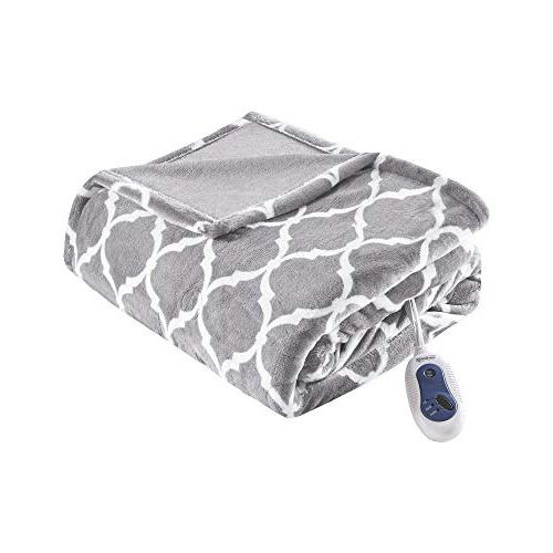 Beautyrest Heated Throw Blanket – Comfort x Ogee Pattern - Cozy Soft Heated -