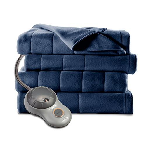 Sunbeam Heated 10 Heat Settings, Fleece, Newport Blue,
