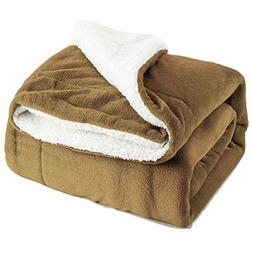 Bedsure Sherpa Throw Blanket Camel Twin Size 60x80 Bedding F